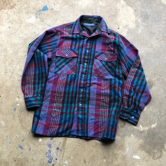 Vintage Wool Blend Flannel -Purple and Blue Flanne