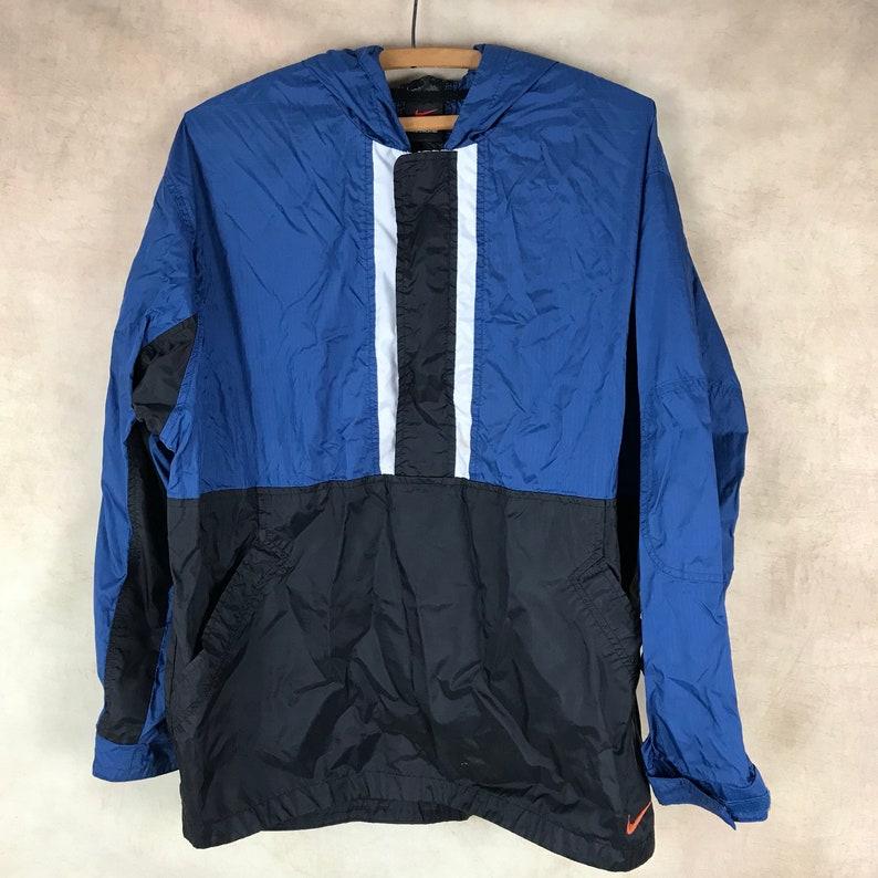d6454a37153ee Vintage Nike Jacket - Navy Blue Color Block - mens - Adult Small - Youth XL  (18/20) - Street Wear - Retro Coat Sport Core Windbreaker