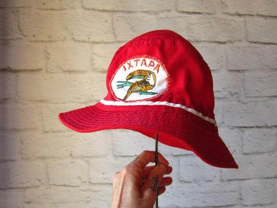 29795cf9f04 Items similar to Vintage Ixtapa Bucket Hat - Red Hat Streetwear - Hipster  Festival - Tourist - Mexico FREE SHIPPING on Etsy