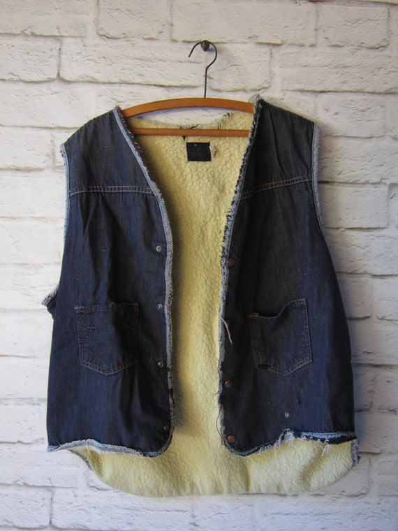 Sherpa Lined Denim Vest -Destroyed and Repaired In