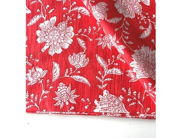 Hand Block Print Henna Green Hibiscus Print Fabric, Indian Cotton Fabric, Floral Print in Soft Red and White, Hand Stamped Printed Cambric