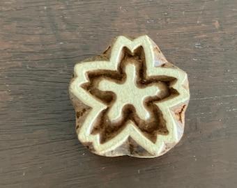 Floral Block Printing Stamp, Indian Hand Carved Round Wooden Block Stamp, Textile Stamping, Henna Design, Scrap booking Stamp, Card Making