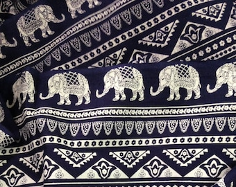 Elephant Print Fabric, Boho Fabric, By the yard, Alternate Elephant Print, Dark Navy and White, Indian Cotton, Indian Elephant, Folk print