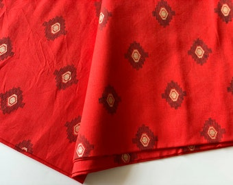 "41"" Wide Printed Indian Rayon Texture Red Fabric Light Weight Sewing By 1 Metre"