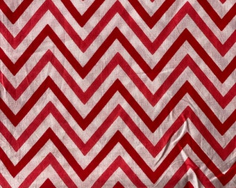 Zig Zag Print on Indian cotton, Chevron print, 1 Yard cut, red and white Print, sewing and quilting fabric for fashion home