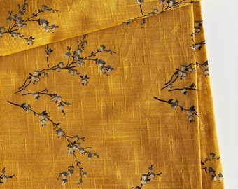 Japanese Blossom Print Indian Cotton Flax  Linen Texture Fabric, Mustard fabric by the Yard, Dressmaking fabric