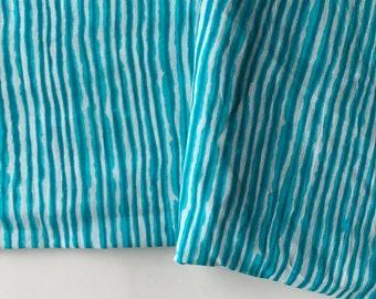 Hand drawn stripes, Indian cotton fabric, Dabu printed fabric, blue  stripes printed cotton fabric, 3.20 yard cut, bolt end