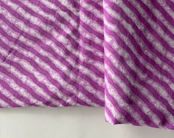 Block Print, Leheriya Print, Indian Cotton, Purple and white ,by the yard , Diagonal Stripes Print, Indian Cotton, Boho Indian fabric,