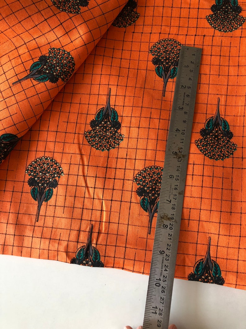 Cotton Flax Catclaw Briar Floral Print Fabric Bright Orange printed by the yard Cotton Linen Texture Home and Fashion fabric
