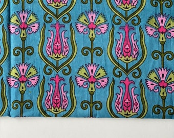 Botanical Fabric, Indian Fabric, 2 yard cut, remnant fashion Fabric, bolt end, Floral Fabric, Indian Cotton Fabric