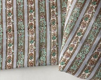 Hand drawn stripes, Indian cotton fabric, Dabu printed fabric, light green stripes printed cotton fabric, 3.27 yard cut, bolt end