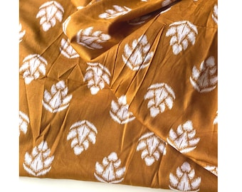 Indian Block Print Style, Dark Mustard Ikat Print on Indian cotton, 1.6 yard, Cotton Cambric, fashion sewing and quilting fabric
