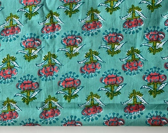 Floral Print, Indian printed cotton textile fabric,Mint green and pink floral buti block print, Home and Fashion, 2.24 yard, wholesale