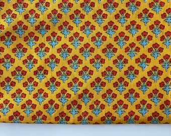 Floral Print, Indian printed cotton textile fabric, Floral Buti in Yellow and red, Home and Fashion, 4 yard, wholesale