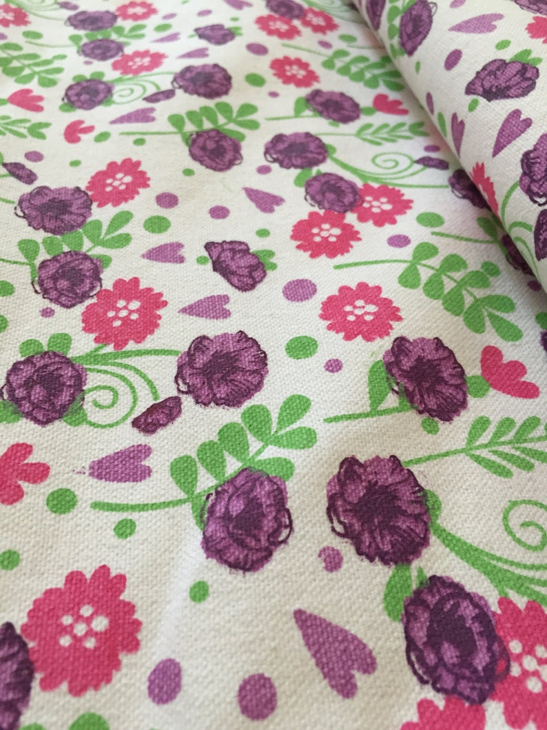 Printed Canvas fabric Unfinished canvas 60 inch width Flower Garden Print High width plain white edge multicolor print, thick fabric