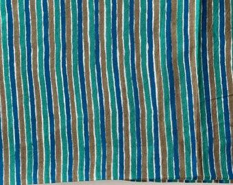 Hand drawn stripes, Indian cotton fabric, Dabu printed fabric, blue and green stripes printed cotton fabric, 32 inch cut, bolt end