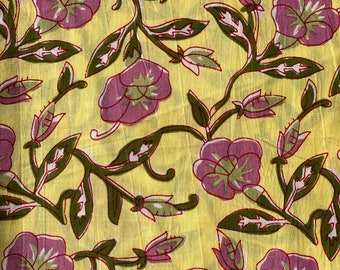 Dress making fabric cotton scrap, Yellow Floral print, 1.5 Yards end, bolt end cut, quilt making and crafting scrap