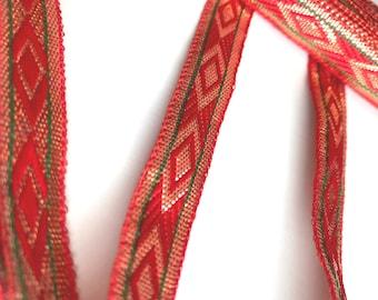 Red and Gold Narrow Jari, Gypsy Lace Trim, Indian Ethnic Trim, Sari ribbon trim by the yard, Narrow decoration trim, 1.5 cms - half inch