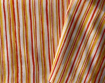 Hand drawn stripes, Indian cotton fabric, Dabu printed fabric, yellow and orange stripes printed cotton fabric, 1.4  yard cut, bolt end