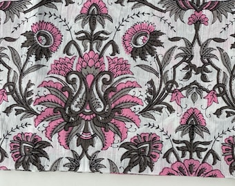 Indian Block Print Fabric, hand stamped fabric cotton Fabric, Pink Clustervine Print Fabric, 1.75 yard cut, sewing quilting fashion and home
