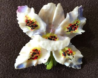 Celluloid orchid brooch