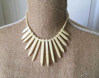 Bovine statement bib necklace