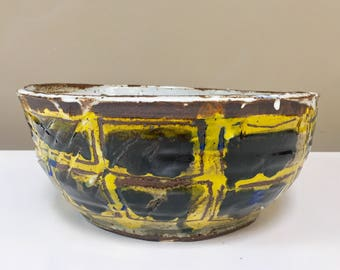 large yellow and blue scribble bowl // painted // stoneware