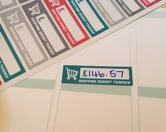 Shopping budget tracking planner stickers for erin condren life planner , happy planner , filofax etc