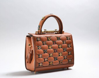 """Exclusive genuine leather bag with crocodile flower and wallet """"Baguette wild flower"""""""