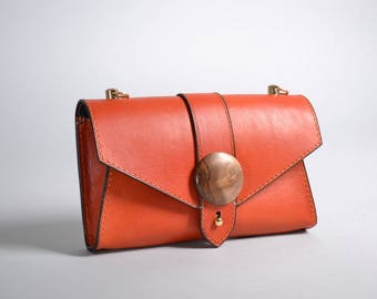 Leather Clutch with wood Pattern