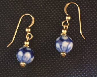 Vintage Chinese Blue and White Porcelain Earrings All Gold Filled