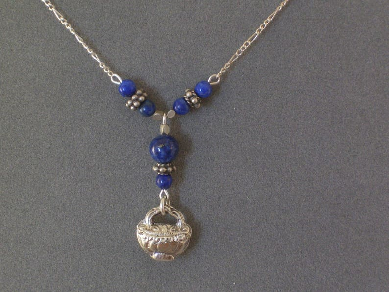 Sterling Y Necklace with Lapis and Centerpiece Basket of Peaches