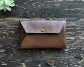Leather envelope clutch, Leather envelope wallet, Leather envelope pouch, Leather mail clutch, Leather envelope case