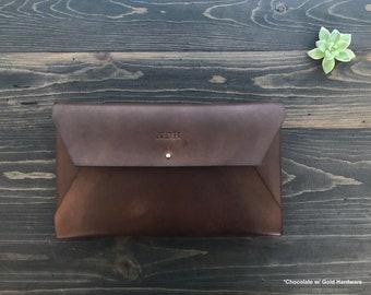 LARGE Leather Envelope Clutch, Leather Envelope Wallet, Travel Case, Travel Clutch,Leather Mail Clutch, Leather Envelope Case, Travel Wallet