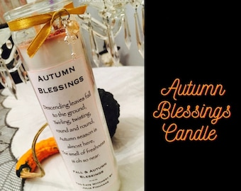 Autumn Blessings Candle, Pumpkin Spice Candle, Orange Fall Candles, Handcrafted Candles, Glass Jar Candle, Seven Day Candle, Novena Candle