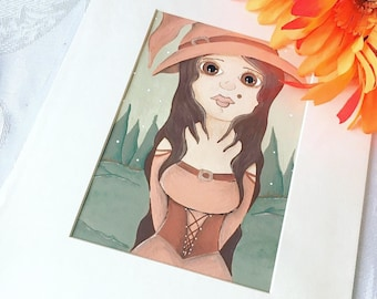 Witch Painting, Halloween Art, Orange Witch Hat, Whimsical Artwork, Big Eye Art, Acrylic Painting, 8x10 Inch Matted Wall Art, Home Decor