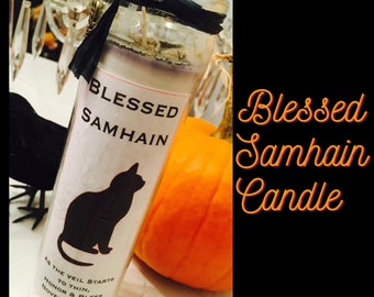 Halloween Candle, Samhain Candles, Black Cat Art Candle, Patchouli Candle, Altar Candles, Spell Candle, Wiccan Candle, Witches Novena Candle