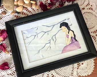 Whimsical Painting, Pop Surrealism, Original Acrylic Painting, Girl in Purple Dress, Framed Art with Skeleton Keys on Tree Branches, Lowbrow