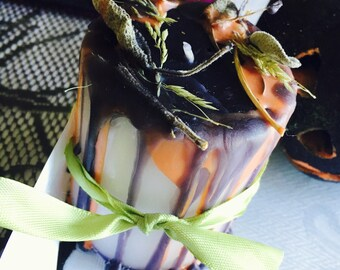 Halloween Candle, Samhain Candle, Pumpkin and Patchouli Scented Candle, Halloween Home Decor, Sage Ritual Candle, Pagan Candles, Wiccan