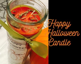 Halloween Candle, Pumpkin Spice Candle, Halloween Jar Candles, Happy Halloween Decor, Orange Fall Candles, Novena Candle, Witches Candles