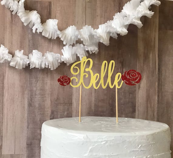Beauty And The Beast Birthday Cake Topper Custom Name