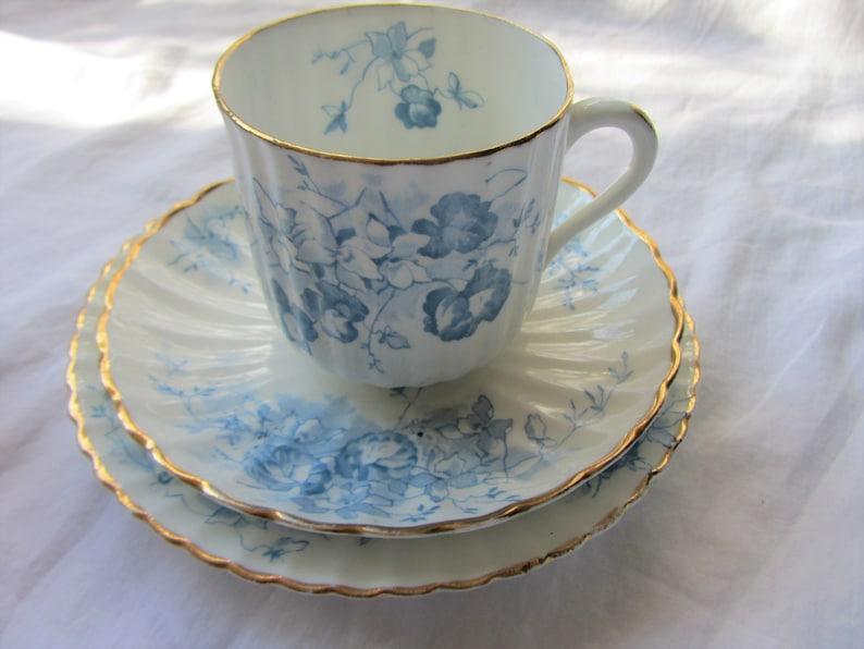 Set 6 antique tea cups, saucers, plates  18 pcs, 6 trios, of English bone  china  Bridal shower, afternoon tea party, wedding crockery
