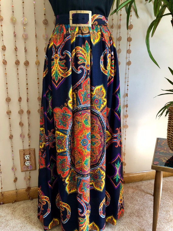 1970s Psychedelic Print Hippie Maxi Dress - image 3