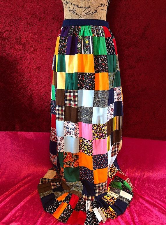 1970s Handmade Patchwork Hippie Maxi Skirt
