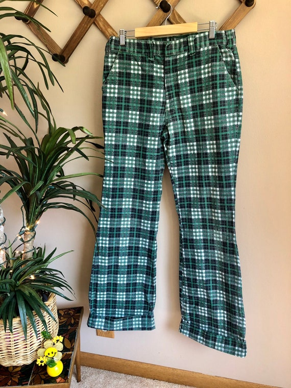 1970s Green Toned Plaid Bell Bottom Pants