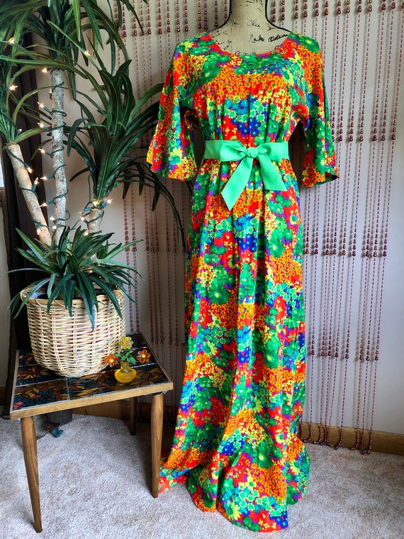 1970s Neon Psychedelic Floral Print Barkcloth Maxi