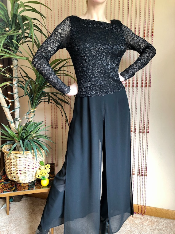 1990s Black Lace Jumpsuit With Sheer Legs