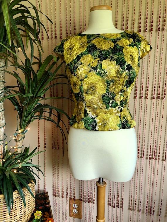 1960s Floral Brocade Formal Top