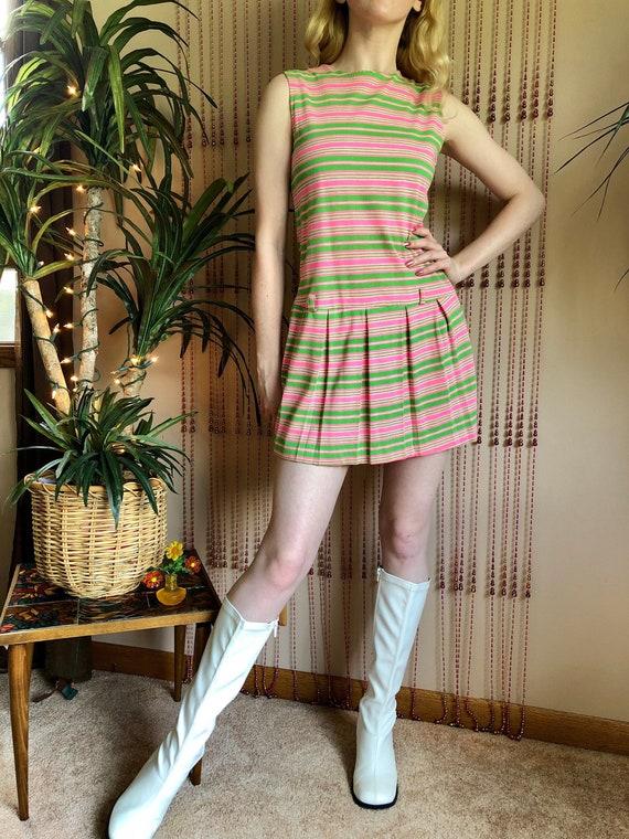 1960s/70s Pink & Green Striped Mod Mini Dress