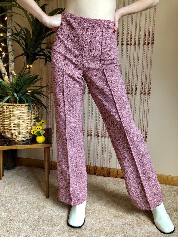1970s Funky Red Flare Pants